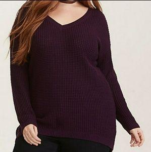Torrid Open Knit Long Purple Sweater Size 1